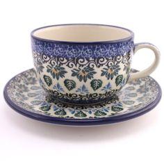 Ceramic mug (cup) - Polish pottery - Polská keramika - Krásný ručně zdobený hrnek. Veškerá naše keramika lze používat denně v myčkách na nádobí a v mikrovlnných i pečících troubách.