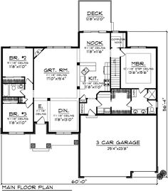 First Floor Plan of Bungalow Craftsman Ranch Traditional House Plan 73135 -Dining Would probably be an office