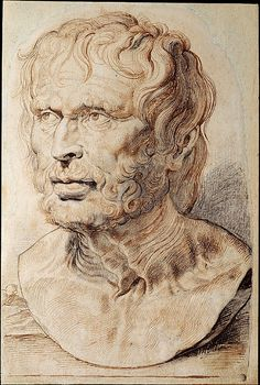 Bust of Pseudo-Seneca, Peter Paul Rubens (Flemish, Siegen 1577–1640 Antwerp), 1600-1626, Pen and brown ink over black chalk heightened with white, with brush and gray ink, the Metropolitan Museum of Art