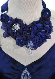 Sculptured Silk Floral Neckpiece--Collection Felicia / Style # 1255. Swarovski sparkling sculptural silk floral neckpiece with Detachable Silk Scarves.