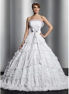 Ball-Gown Strapless Chapel Train Satin Tulle Lace Wedding Dress With Beading Bow(s) Pleated (002014829) - JJsHouse