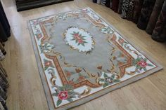 Beige Chinese Aubusson Design Hand Tufted 100 Acrylic Rug Now Half Price