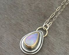 Reserved - Faceted welo opal necklace with 18k gold and sterling silver