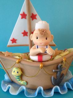 Nautical Baby Boy Cake Topper