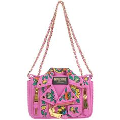 Moschino Couture Shoulder Bag (61.515 RUB) ❤ liked on Polyvore featuring bags, handbags, shoulder bags, fuchsia, moschino shoulder bag, leather handbags, white leather purse, floral leather handbags and white shoulder bag