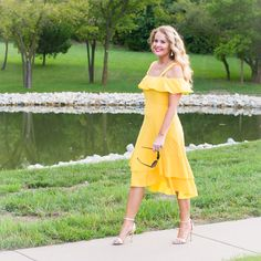 Friday Fashion Favorites-Yellow cold-shoulder J.Crew sundress