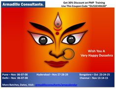 """PMP Certification Training with 30% Off on Dussehra. only for today. Use This Coupon Code """"DUSSEHRA30"""". Get your Study plan and Road map by registering to PMP training at Armadillo Consultants. Call Mr. Hari to Enroll at +91 9901854125. View course details & Enroll here. https://armadilloconsultants.com"""