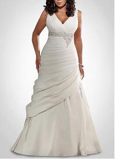 Glamorous Satin Mermaid V Neckline Plus Size Wedding Dress With Beads & Lace Appliques