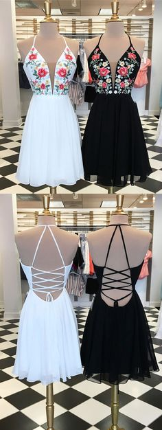 Cute A Line V Neck Criss Cross Back Chiffon White Short Homecoming Dresses with Embroidery, Simple Short Prom Dresses · Hot Lady · Online Store Powered by Storenvy Hoco Dresses, Dresses For Teens, Sexy Dresses, Cute Dresses, Formal Dresses, Simple Homecoming Dresses, Mini Dresses, Dress Prom, Dance Dresses