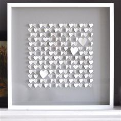Sarah & Bendrix - Grey Hearts, Framed Papercut, 50 x 50cm