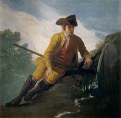 """Francisco de Goya: """"Cazador al lado de una fuente"""". Oil on canvas, 130  x 131 cm, 1786-87. Museo Nacional del Prado, Madrid, Spain"""