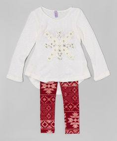Love this White Snow Tunic & Leggings - Toddler & Girls by Maya Fashion on #zulily! #zulilyfinds