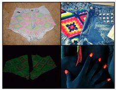 DIY Clothes Refashion : DIY  Glow-In-The-Dark Aztec Cutoffs