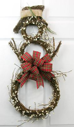 Just a simple grapevine snowman wreath with a traditional plaid Christmas bow. - Frosted gypsum berry garland around. Measures More Outdoor Christmas, Rustic Christmas, Winter Christmas, All Things Christmas, Christmas Holidays, Christmas Ornaments, Plaid Christmas, Christmas Door, Christmas Projects