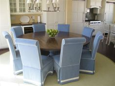 Rustic Dining Table With Coastal Blue Fluted Pedestal–1aad