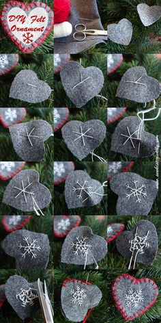 DIY Felt Heart Ornaments - Tutorial - Sew Historically - holiday decorations to. - DIY Felt Heart Ornaments – Tutorial – Sew Historically – holiday decorations to make - Handmade Christmas Decorations, Christmas Ornament Crafts, Christmas Sewing, Holiday Crafts, Christmas Diy, Christmas Fabric, Diy Ornaments, Holiday Ornaments, Scandinavian Christmas Ornaments