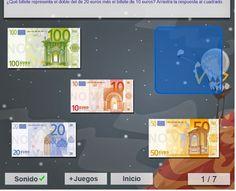 Es Racó Des Pt : Juego de medir dinero para niños de primaria: billetes de euro
