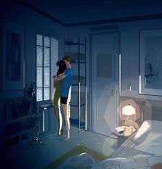 Midnight. #pascalcampion #pascalcampionart #couples #neverletmego #embrace #illustration #everydaylove -Please... -Yes? -Don't let me go -Never.