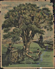 """Diseases & Crimes - Tree of All Evil"" (1912), Nedeljkovich, Brashich, and Kuharich / IWW, Cleveland  At the bottom, toward the right a man digs at a tree root, and the text behind him reads, ""class-conscious workers, we have to destroy the cause of evil"""