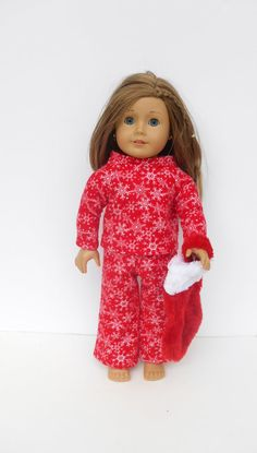 Red Flannel Doll Pajamas with Snowflakes, Christmas Pajamas for 18 inch dolls such as American Girl  by DonnaDesigned, $16.00 https://www.etsy.com/listing/203276270/red-flannel-doll-pajamas-with-snowflakes?ref=shop_home_active_3