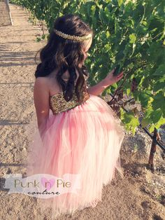 Perfect for a Blush Pink and Gold Wedding Sequin Flower Girl Tutu Dress and headband by punknpiecouture, $90.00