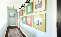 A photo gallery wall is a great way to display family photos. We took ours up a notch by infusing it with color and personality. Learn how we did it in this post! Modern Gallery Wall, Gallery Wall Layout, Gallery Walls, Frame Gallery, Photo Gallery Hallway, Painted Vinyl Floors, Display Family Photos, Diy Countertops, Diy Photo