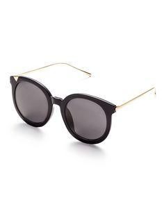 Gafas de sol con marco negro brazo de metal y lentes gris-(Sheinside)