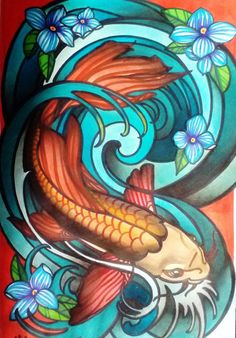 Koi fish in wave, art deco or art nouveau stained glass fish with wat…