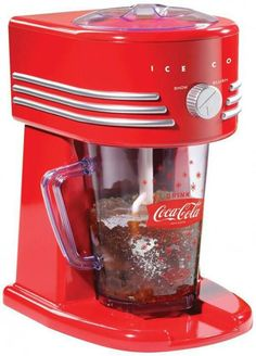 Frozen coke maker - Price: $53.96. his Retro Coca-Cola Slush Drink Maker is perfect for outdoor entertaining! It can use crushed ice or small ice cubes from your freezer, ordinary table salt and just a small amount of water. Add your favorite fruit juice or Coke drink and enjoy hours of fun with delicious slush Coke drinks anytime! Make your own Coke slushy in just minutes!