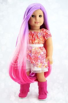 Sugarplum Fairy Pink Ombre Deluxe Luxury Doll Wig for Custom American Girl Dolls Size 10-11: Beautifully Custom Exclusive