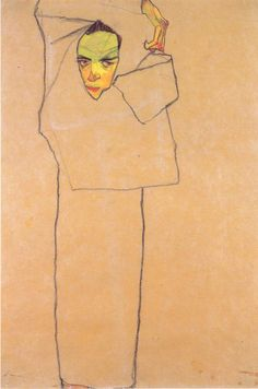 Egon Schiele: Self-Portrait, Line drawing: ink and chalk on paper? Gustav Klimt, Life Drawing, Painting & Drawing, Figure Drawing, Art Graphique, Figurative Art, Online Art, Les Oeuvres, Art History