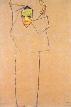 Egon Schiele: Self-Portrait, Line drawing: ink and chalk on paper? Gustav Klimt, Art And Illustration, Life Drawing, Painting & Drawing, Figure Drawing, Figurative Art, Online Art, Art History, Modern Art