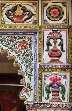 *INDIA ~ Stunning Paintings on the walls and ceiling of Udaipur Palace Rajasthan, https://www.facebook.com/nikhaarfashions