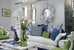 Green and blue living room