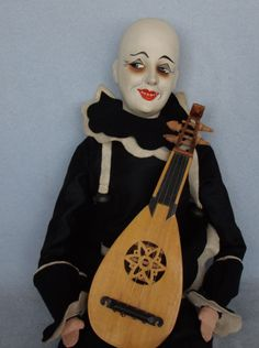 "Antique 25"" Composition Swivel Head Pierrot Boudoir Doll Felt Clown Mandolin"
