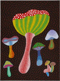 Yayoi Kusama - Mushrooms acrylic on canvas 2014   David Zwirner  ZONA MACO in Mexico City