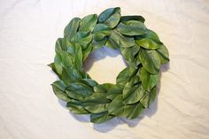 I have been dreaming about having a magnolia wreath for about a year now. Everywhere I've looked to buy one, though, I've nearly been knocked down by the price tags. $50 plus dollars for a wreath–seriously?! No, thanks. It should come as no surprise to you (if you've followed me for at least 5 minutes