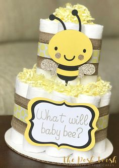 Bumble Bee Diaper Cake Baby Shower Centerpiece Baby Shower