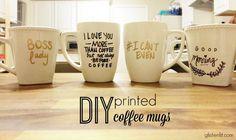 DIY Printed Coffee Mugs