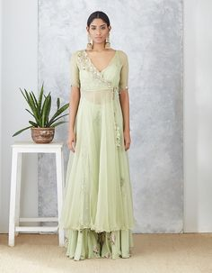 P R I N T S // SERENA Our easy breezy Sage organza angarakha jacket set is perfect for summer mehendis! Party Wear Indian Dresses, Designer Party Wear Dresses, Dress Indian Style, Indian Gowns, Indian Designer Outfits, Indian Wedding Outfits, Indian Attire, Bridal Outfits, Indian Outfits