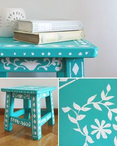 Banco3 Cute Furniture, Funky Painted Furniture, Recycled Furniture, Paint Furniture, Furniture Makeover, Painted Game Table, Painted Stools, Antique Bookcase, Ikea