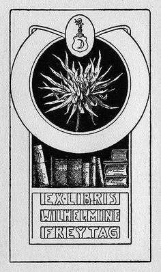 Ex Libris Wilhelmine Freytag;' depicts a stack of books, a thistle, and a shield with a crescent, a helmet, and a beast.