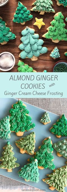 Almond Ginger Cookies with Cream Cheese Frosting Almond Ginger Cooki.Almond Ginger Cookies with Cream Cheese Frosting Almond Ginger Cookies are even better with a fluffy, ginger cream cheese frosting. Frosted Christmas Tree, Christmas Tree Cookies, Christmas Sweets, Holiday Cookies, Holiday Baking, Christmas Desserts, Christmas Baking, Christmas Biscuits, Halloween Cookies