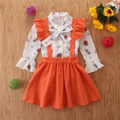 Baby / Toddler Swallow Allover Print Bowknot Shirt and Solid Suspender Skirt set Baby Outfits Newborn, Toddler Outfits, Kids Outfits, Dresses Kids Girl, Little Girl Outfits, Baby Girl Fashion, Kids Fashion, Overall Skirt, Baby Kids Clothes