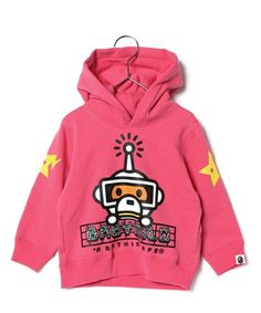 BAPE KIDS(ベイプキッズ)のBABY MILO REFLECTION PULLOVER HOODIE (パーカー) ピンク