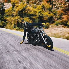 caferacersofinstagram:How low can you go? @colekelson getting a feel for the road. Photo by @aaronbhall #riding #motorcycles #motos | caferacerpasion.com