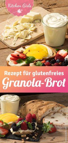 Walnussbrot selber backen - hier gibt's das einfache Rezept für glutenfreies Brot mit Nüssen und Granola. Camembert Cheese, Dairy, Pimp, Pesto, Cocktails, Food, Gluten Free Breads, Breads, Sandwich Spread