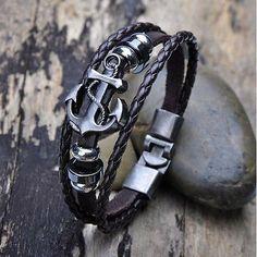 cool Vintage Men's Metal Anchor Steel Studded Surfer Leather Bangle Cuff Bracelet - For Sale