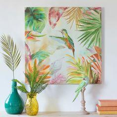 Colibri summer tropical print canvas 70 x 70 maisons du monde Watercolor Art Face, Watercolor Art Lessons, Estilo Tropical, Beach Wall Decor, Canvas Prints, Art Prints, Art Journal Inspiration, Diy Painting, Art Projects