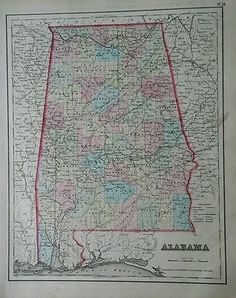 Original-antique-1857-Colton-hand-colored-map-of-ALABAMA-original